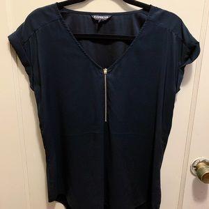 EXPRESS   Black Short Sleeve Blouse Zipper Detail